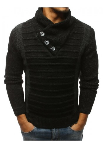 Pánský stylový svetr s vysokým límcem v bílé barvě