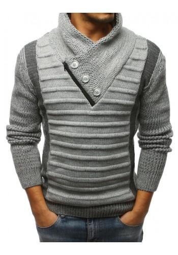 Stylový pánský svetr černé barvy s vysokým límcem