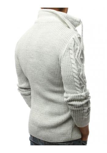Šedý stylový svetr s vysokým límcem pro pány
