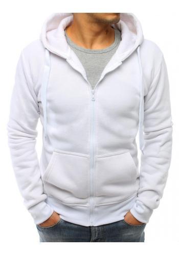Pánská jednobarevná mikina se zapínáním na zip v bílé barvě