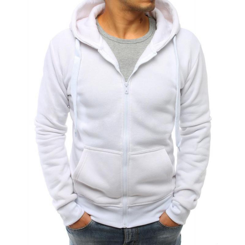 6ecc00e9415 Pánská jednobarevná mikina se zapínáním na zip v bílé barvě ...