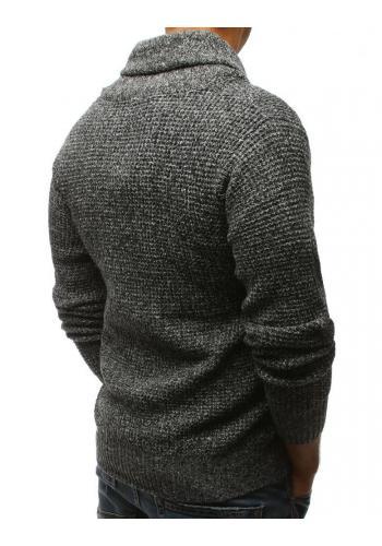 Tmavě modrý módní svetr s vysokým límcem pro pány