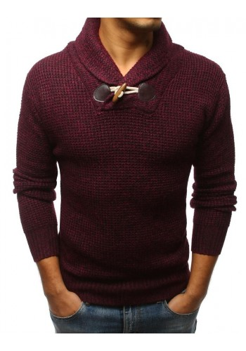Modrý módní svetr s vysokým límcem pro pány