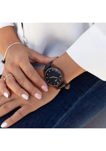 Dámské dřevěné hodinky s textilním řemínkem v kaki barvě