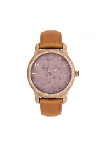 Dámské dřevěné hodinky s kovovým řemínkem ve fialovo-zlaté barvě