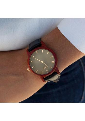 Dřevěné dámské hodinky hnědo-šedé barvy s koženým řemínkem