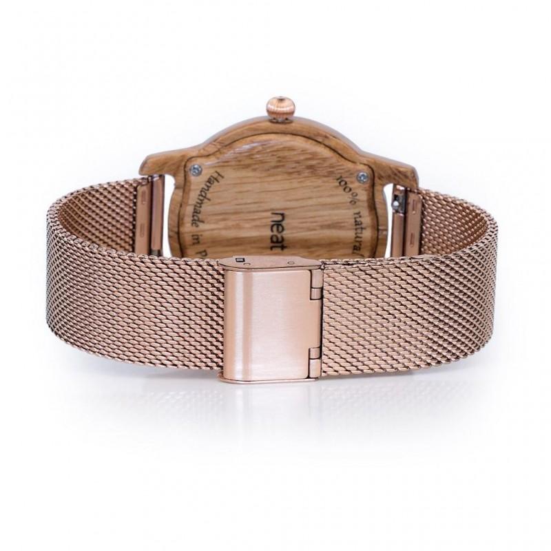 Dámské dřevěné hodinky s koženým páskem v černé barvě