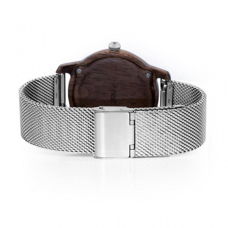 Zlato-šedé dřevěné hodinky s kovovým řemínkem pro dámy